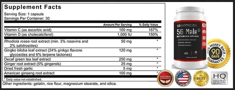 5G Male Ingredients Label