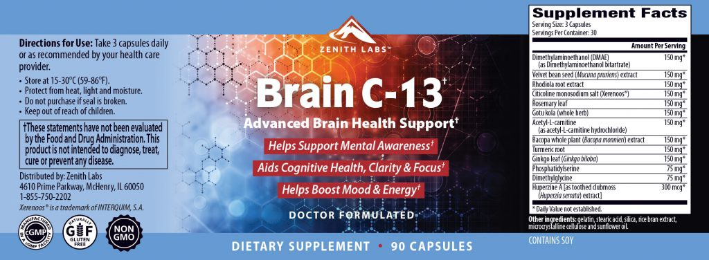 Brain-C-13-Ingredients-Label