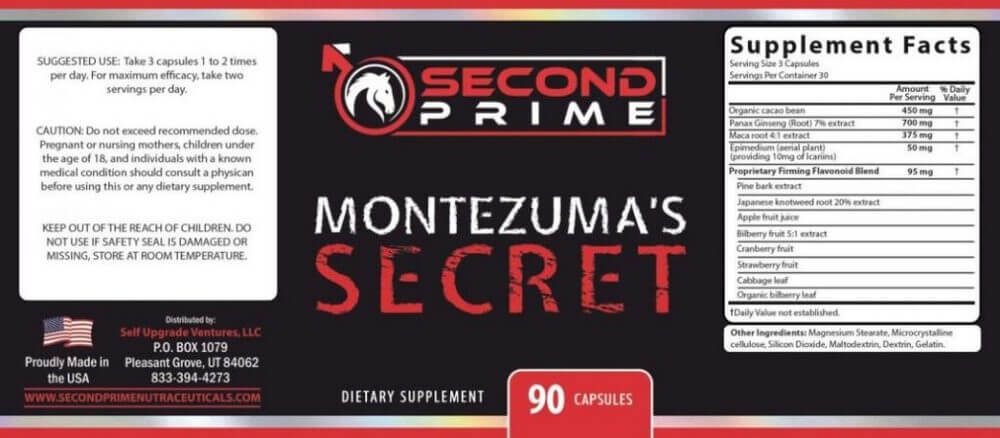 Montezuma's Secret Ingredients Label