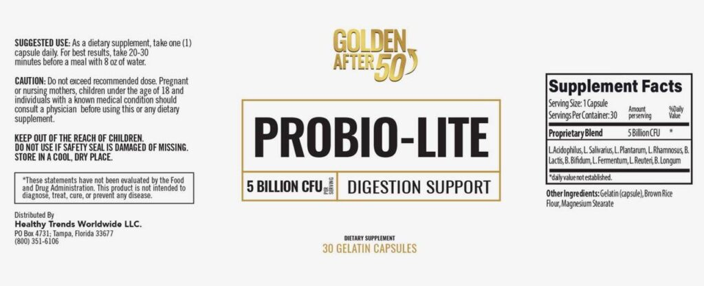 Probiolite Ingredients Label
