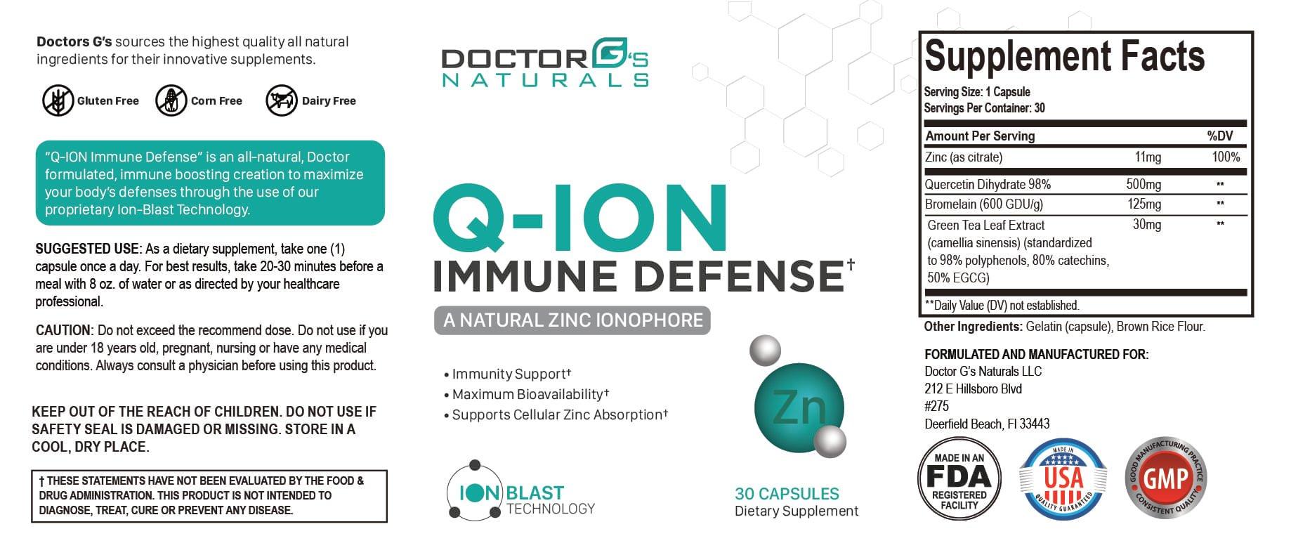 Q-ION Immune Defense Ingredients Label