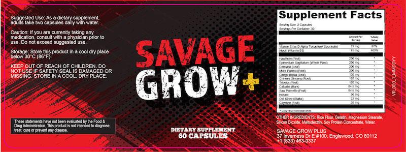 Savage-Grow-Plus-Ingredients-Label