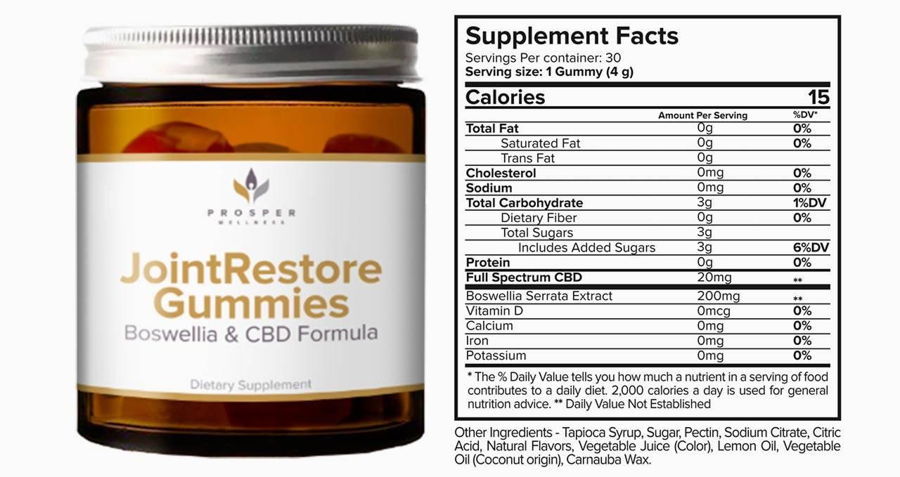 Joint Restore Gummies Ingredients Label