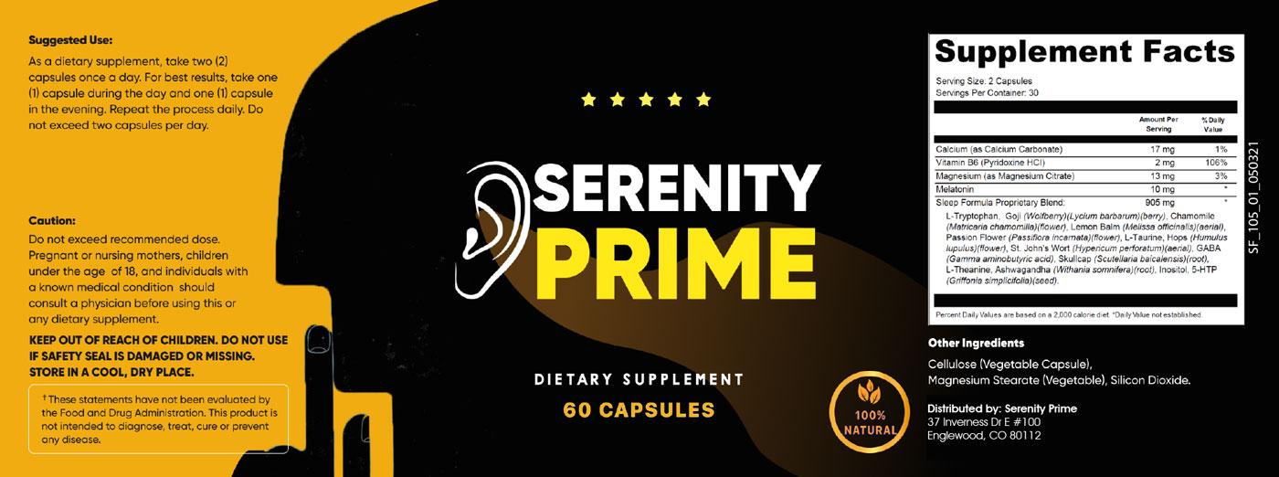 Serenity Prime Ingredients Label