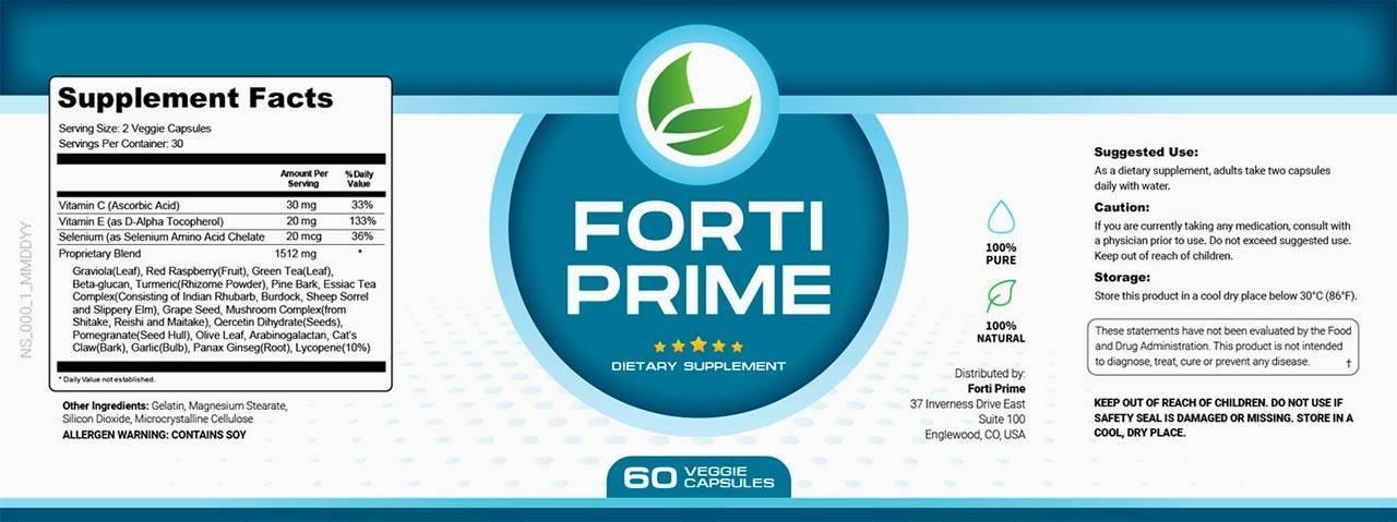 Forti Prime Ingredients Label