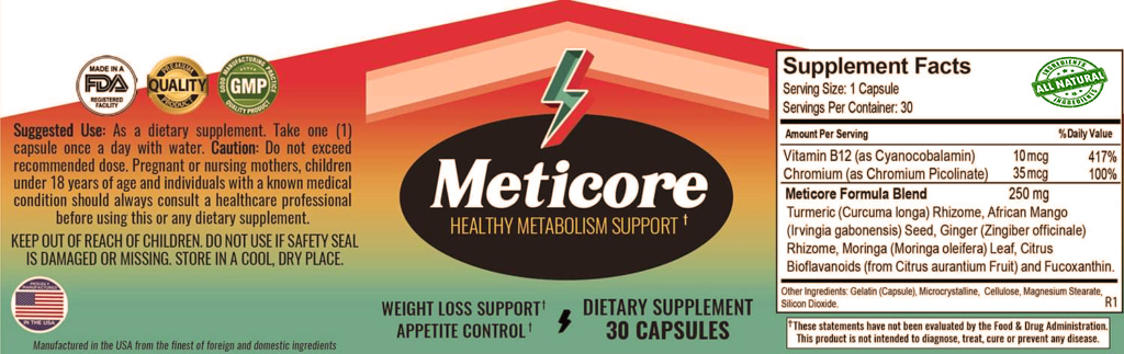 Meticore Ingredients Label