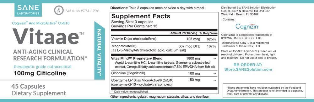 sane vitaae ingredients label