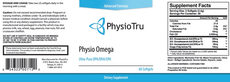 Physio Omega Ingredients Label