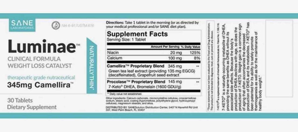 SANE Luminae ingredients Label