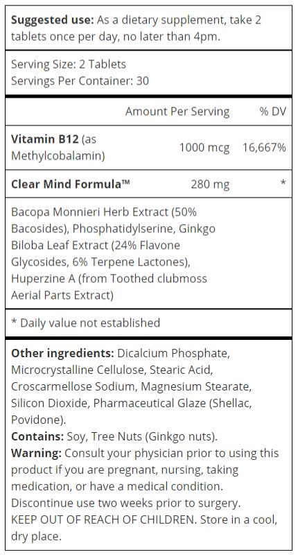 Youthful Brain Ingredients Label